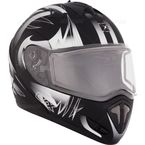 Matte Black/White Tranz RSV Blast Modular Snow Helmet w/Electric Shield - 104672