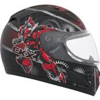 Youth Red RR601 Mecanic Snow Helmet - 503484