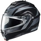 Black/Matte Silver IS-Max 2 Style Snowmobile Helmet w/Dual Lens Shield - 987-954