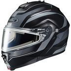 Black/Matte Silver IS-Max 2 Style Snowmobile Helmet w/Electric Shield - 187-954