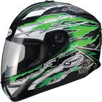 Green/White/Black GM78S Firestarter Full Face Helmet - 72-4915X