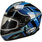 Blue/Silver/White GM78S Blizzard Snowmobile Helmet with Dual Lens Shield - 72-62322X