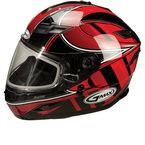 Red/Silver/White GM78S Blizzard Snowmobile Helmet with Dual Lens Shield - 72-6231X