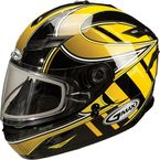 Yellow/Silver/White GM78S Blizzard Snowmobile Helmet with Dual Lens Shield - 72-6235L