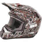 Youth Gray/Red Kinetic Jungle Helmet - 73-3441YL