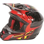 Youth Black/Red/Lime Kinetic Pro Andrew Short Replica Helmet - 73-3304YL