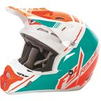 Youth White/Teal/Flo Orange Kinetic Pro Trey Canard Replica Helmet - 73-3305YL
