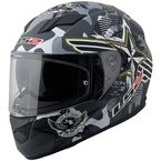 Black/Grey/Green/White Veteran 2 Stream FF328 Full Face Helmet with Sunshield - 328-1204