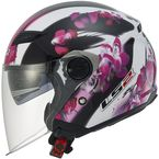Womens Pink/White/Black Floral OF569 Track Helmet with Sunshield - 569-3104
