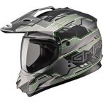 Flat Black/Hi-Viz Green GM11D Adventure Dual Sport Helmet - G5117676 TC-23