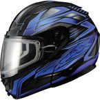 Black/Blue GM64S Carbide Modular Snowmobile Helmet w/Dual Lens Shield - 72-62623X