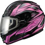 Black/Pink GM64S Carbide Modular Snowmobile Helmet w/Dual Lens Shield - 72-6269L