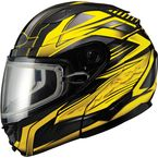 Black/Yellow GM64S Carbide Modular Snowmobile Helmet w/Dual Lens Shield - 72-6265L