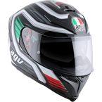 Black/White/Green/Red K5 F-Race Italy Helmet  - 0041O2HY01109