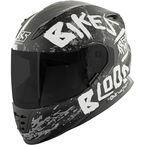 Matte Black/White/Charcoal SS1310 Bikes Are In My Blood Helmet - 884372