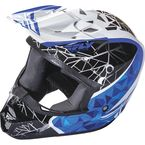 Youth White/Black/Blue Kinetic Crux Helmet - 73-3383YS
