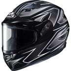Flat Black/Gray/Silver CS-R3 Spike MC-5 Snow Helmet w/Framed Dual Lens Shield - 55-19156