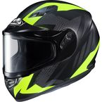 Flat Black/Gray/Hi-Viz Flat CS-R3 Treague MC-3HF Snow Helmet w/Framed Dual Lens Shield - 135-834