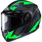 Flat Black/Gray/Green CS-R3 Treague MC-4F Snow Helmet w/Framed Dual Lens Shield - 135-844