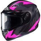 Flat Black/Gray/Pink CS-R3 Treague MC-8F Snow Helmet w/Framed Dual Lens Shield - 55-19286