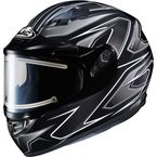 Black/Gray/Silver CS-R3 Spike MC-5 Snow Helmet w/Framed Electric Shield - 55-29156