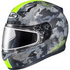 Flat Dark Gray/Light Gray/Hi-Viz Green CL-17 Void MC-3HF Snow Helmet w/Frameless Electric Shield - 57-29636