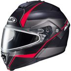 Semi-Flat Black/Gray/Red IS-MAX 2 Mine 2 MC-1SF Snow Helmet w/Frameless Dual Lens Shield - 58-13716