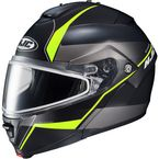 Semi-Flat Black/Gray/Neon Greem IS-MAX 2 Mine MC-3HSF Snow Helmet w/Frameless Dual Lens Shield - 991-734