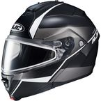 Semi-Flat Black/Gray/Silver IS-MAX 2 Mine MC-5SF Snow Helmet w/Frameless Dual Lens Shield - 58-13756