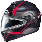 Semi-Flat Black/Gray/Red IS-MAX 2 Mine MC-1SF Snow Helmet w/Frameless Electric Shield  - 191-714