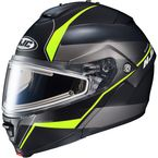 Semi-Flat Black/Gray/Neon Green IS-MAX 2 Mine MC-3HSF Snow Helmet w/Frameless Electric Shield  - 58-23736