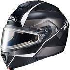 Semi-Flat Black/Gray/Silver IS-MAX 2 Mine MC-5SF Snow Helmet w/Frameless Electric Shield  - 58-23752