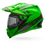 Green/Titanium MX-9 Adventure Barricade Snow Helmet w/Electric Shield - 7075783