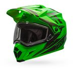 Green/Titanium MX-9 Adventure Barricade Snow Helmet w/Dual Lens Shield  - 7075956