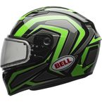 Green/Titanium/Black Qualifier Machine Snow Helmet w/Dual Lens Shield - 7076047