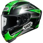 Green/Silver/Black X-Fourteen Laverty TC-4 Helmet - 0104-1604-06