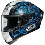 White/Black/Blue X-Fourteen Kagayama 5 TC-2 Helmet - 0104-1702-06