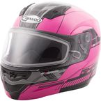 Hi-Vis Pink/Black MD04 Quadrant Modular Snow Helmet w/Dual Lens Shield - G2041406 TC-14