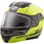 Hi-Vis Yellow/Black MD04 Quadrant Modular Snow Helmet w/Dual Lens Shield - G2041686 TC-24