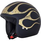 FX-75 Matte Black/Gold Flame Helmet - 0104-2285