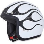 FX-75 Matte White/Black Flame Helmet - 0104-2291