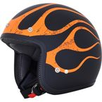 FX-75 Matte Black/Orange Flame Helmet - 0104-2296