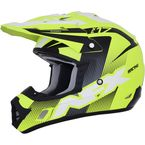 Matte Neon Yellow/Black/White FX-17Y Youth Helmet - 0111-1113