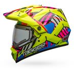 Hi-Viz/Pink  MX-9 Adventure Snow Tagger Double Trouble Helmet w/Electric Shield - 7090666