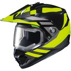 Hi-Viz Neon/Black DS-X1 Lander MC-3HSnow Helmet w/Frameless Electric Shield - 013-934