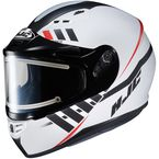 Semi-Flat White/Black CS-R3SN Space MC-10SF Helmet w/Frameless Electric Shield - 037-704