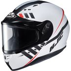 Semi-Flat White/Black CS-R3SN Space MC-10SF Helmet w/Frameless Dual Lens Shield - 137-704