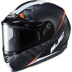 Semi-Flat Black/White CS-R3SN Space MC-7SF Helmet w/Frameless Dual Lens Shield - 137-774