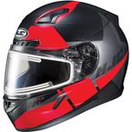 Semi-Flat Black/Red/Gray CL-17SN Boost MC-1SF Helmet w/Frameless Electric Shield - 153-714