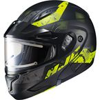 Semi-Flat Black/Hi-Viz CL-Max2SN Friction MC-3HSF Helmet w/Framed Electric Shield - 197-733